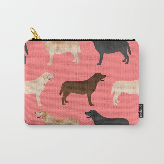 Labrador retriever coats of all colors dog breed pet portraits dogs pets unique pet themed gifts Carry-All Pouch