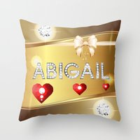 abigail larson Throw Pillows featuring Abigail 01 by Daftblue