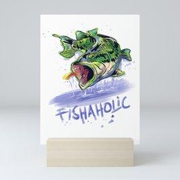 Fishaholic Abstract Bass Fishing Mini Art Print