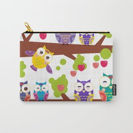 bright colorful owls on the branch of a tree with red apples Carry-All Pouch