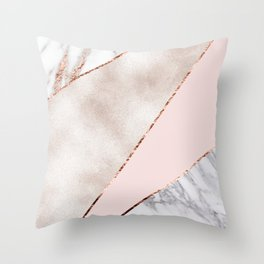 Spliced mixed rose gold marble Throw Pillow