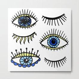 Evil Eyes Blue Yellow Lucky Charm Symbol Metal Print