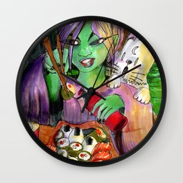 alien girl eating sushi and cat Wall Clock