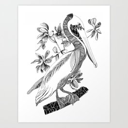 Pelican With Flowers Art Print