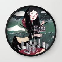 "vancouver Wall Clocks featuring ""Vancouver"" Illustration by Julia Iredale"