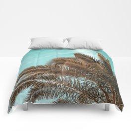 Summer Palm Leaf Print {1 of 3} | Teal Sun Sky Beach Vibes Tropical Plant Nature Art Comforters