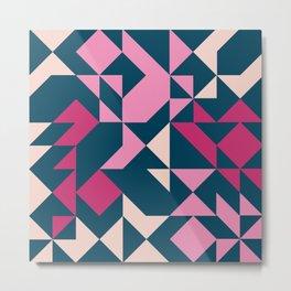 Teal and Pink Geometric Metal Print