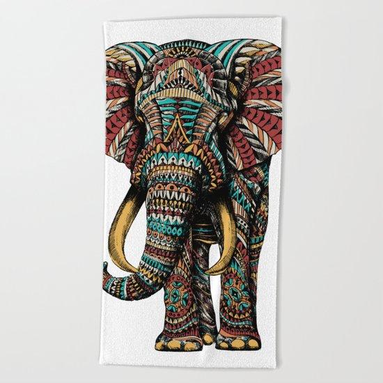 Ornate Elephant (Color Version) Beach Towel