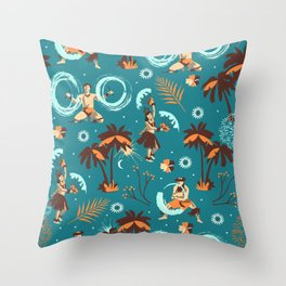 Hawaiian fire dancers Throw Pillow
