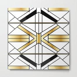 Chic Black & Gold Art Deco Lines Metal Print