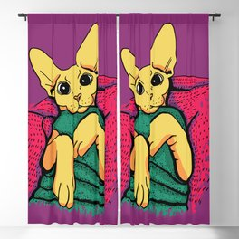 Yellow Cat in a Green Sweater - Sphynx Cat Illustration Blackout Curtain