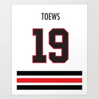 blackhawks Art Prints featuring TOEWS Blackhawks by KAMILA EVA