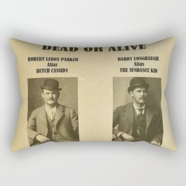 Butch Cassidy and the Sundance Kid Wanted Poster Dead or Alive $5,000 Reward Each Rectangular Pillow