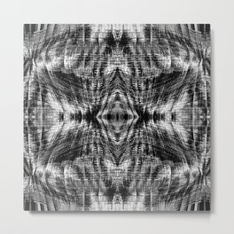 vintage geometric symmetry pattern abstract background in black and white Metal Print