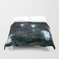 princess mononoke Duvet Covers featuring Princess Mononoke - The Kodama by pkarnold + The Cult Print Shop