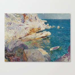 Joaquin Sorolla Y Bastida - Rocks at Javea. The white boat Canvas Print