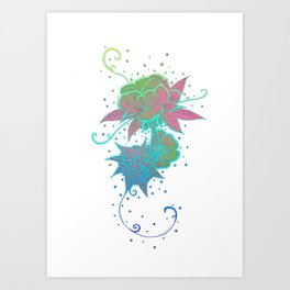 Abstract Neon Style Rose Tattoo Art Print