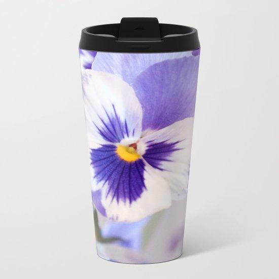 Spring Love #2 - Soft blue-violet-white Pansies #decor #art #society6 Metal Travel Mug