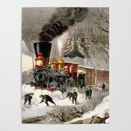 Snow Bound: Vintage Currier & Ives Railroad Scene Poster