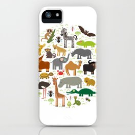 Animal Africa: parrot Hyena Rhinoceros Zebra Hippopotamus Crocodile Turtle Elephant Mamba snake iPhone Case
