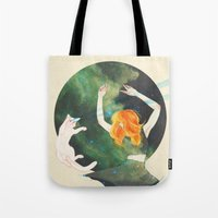 cosmic Tote Bags featuring Cosmic by Adara Sánchez Anguiano