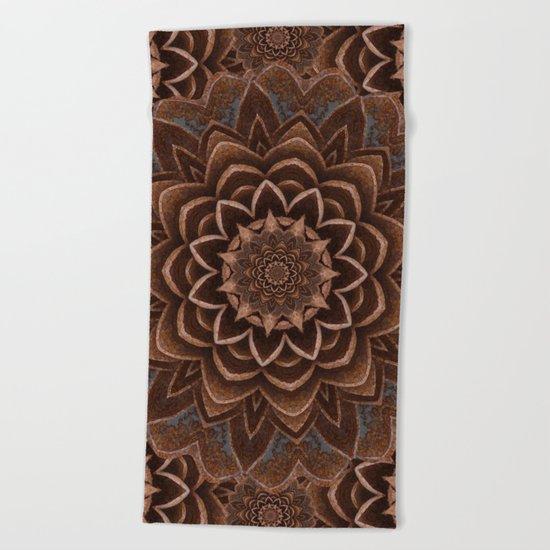 Coffee Shimmer Mandala Beach Towel