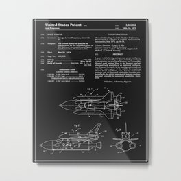 Space Shuttle Patent - Black Metal Print