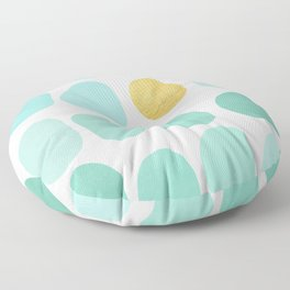 Aqua Pebbles & gold Floor Pillow