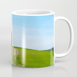 Beautiful spring minimalistic landscape with green hills in Tuscany countryside, Italy Coffee Mug