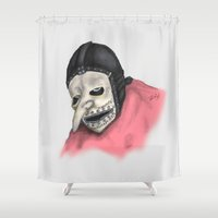number Shower Curtains featuring Number Three by Ludwig Van Bacon