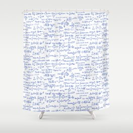 Blue Math Equations Shower Curtain