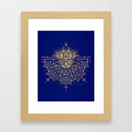 Sacred Lotus Mandala – Navy & Gold Palette Framed Art Print