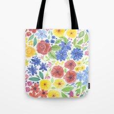 Doodle floral garden in watercolor Tote Bag