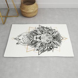 Lion in aztec style Rug