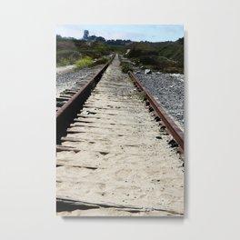 Sandy Train Tracks Metal Print