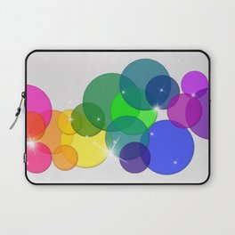 Translucent Rainbow Colored Circles with Sparkles - Multi Colored Laptop Sleeve
