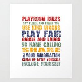 Playroom Rules - Scratch Font Art Print