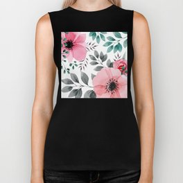 FLOWERS WATERCOLOR 14 Biker Tank