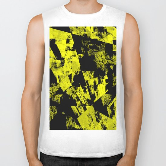 Fractured Warning - Black and yellow, abstract, textured painting Biker Tank