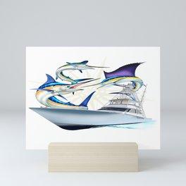 Sail White and Blue Viking Atlantic billfish Mini Art Print