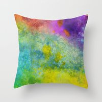 poop Throw Pillows featuring Unicorn Poop by Andrea Gingerich