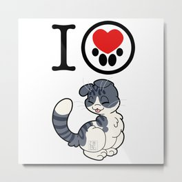 I Heart Scottish Folds! Metal Print
