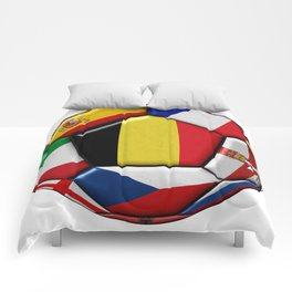 Soccer ball with flag of Belgium in the center Comforters