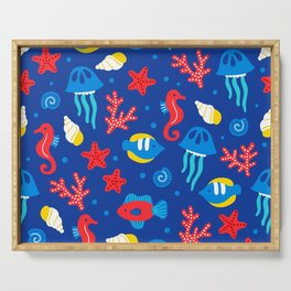 Under the Sea Playful Ocean Pattern Serving Tray