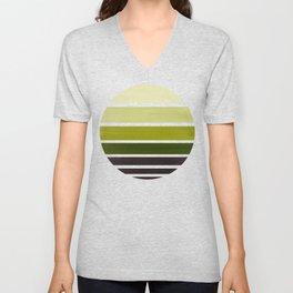 Olive Green Mid Century Modern Minimalist Circle Round Photo Staggered Sunset Geometric Stripe Desig Unisex V-Neck