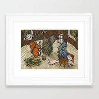 sewing Framed Art Prints featuring Sewing Room by Kelsey Oseid