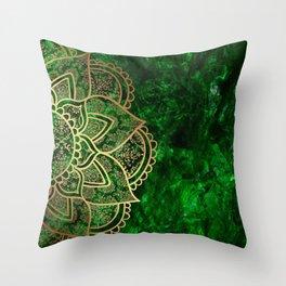 Mandala - Emerald Throw Pillow