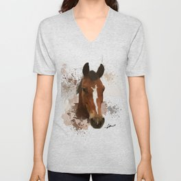 Brown and White Horse Watercolor Unisex V-Neck
