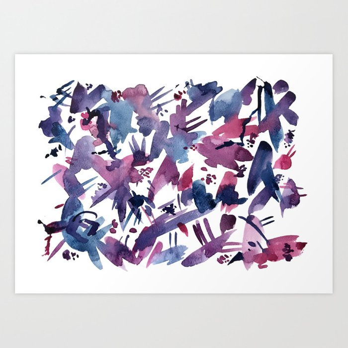 Abstract Blue and Magenta Pattern Art Print