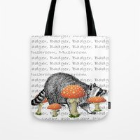 badger Tote Bags featuring badger by vidikay